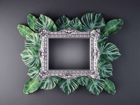 silver frame with tropical leaves. 3d illustration