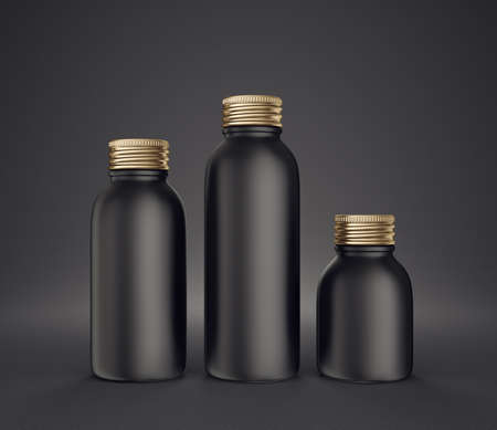 black bottles isolated on a black. 3d illustration