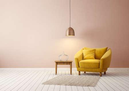 salon moderne avec fauteuil jaune et lampe. mobilier design d'intérieur scandinave. illustration de rendu 3D Banque d'images