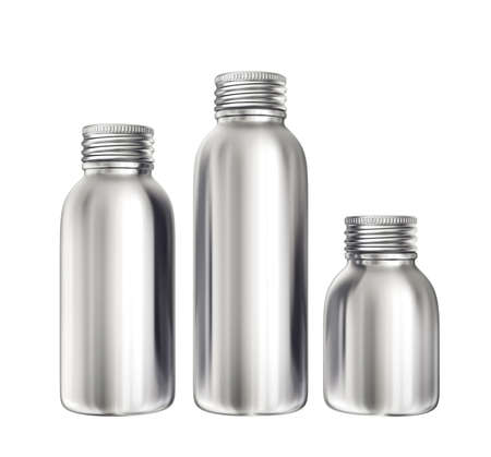 aluminium bottles isolated on a white. 3d illustration