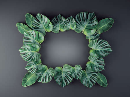tropical leaves background. 3d illustration Reklamní fotografie