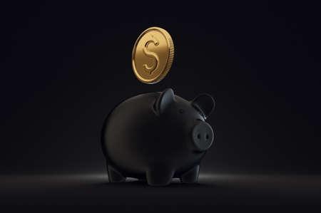 black piggy bank. 3d illustration