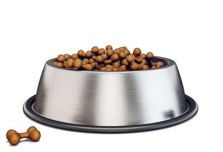 pet bowl with eat. 3d illustration
