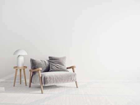 Modern design interior. Scandinavian furniture. 3d illustration, grey armchair