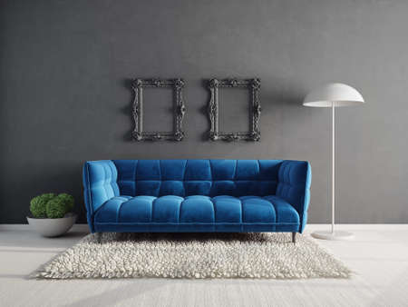 Modern design interior. Scandinavian furniture. 3d illustration, blue sofa