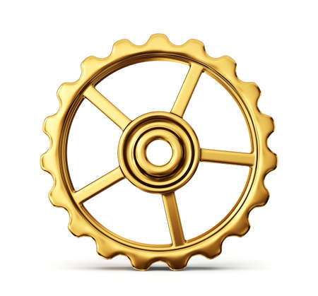 golden gear isolated on a white. 3d illustration