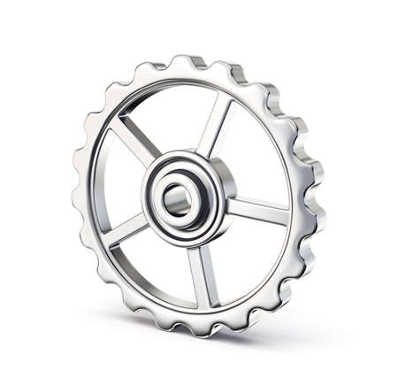 steel gear isolated on a white. 3d illustration