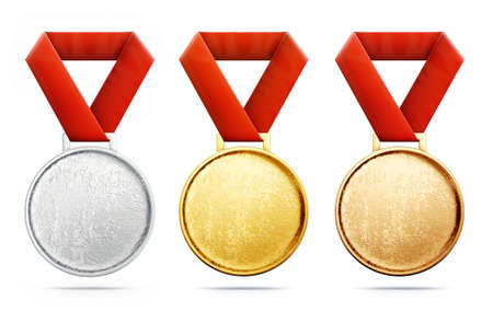 medals isolated on a white background. 3d illustration 版權商用圖片