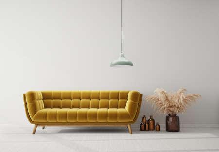 Modern design interior with yellow sofa. Scandinavian furniture. 3d illustration 版權商用圖片