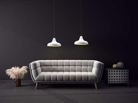 Modern design interior with grey sofa. Scandinavian furniture. 3d illustration