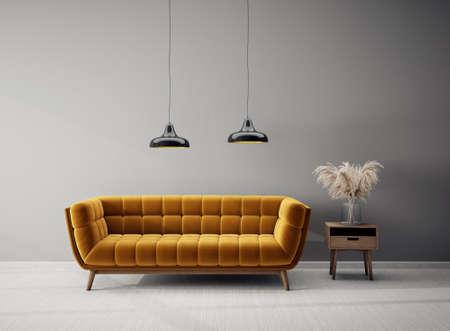 Modern design interior with orange sofa. Scandinavian furniture. 3d illustration