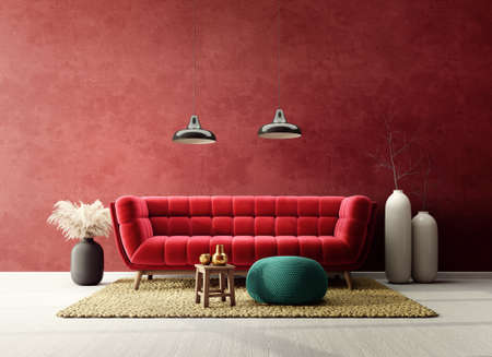 Modern design interior with red sofa. Scandinavian furniture. 3d illustration