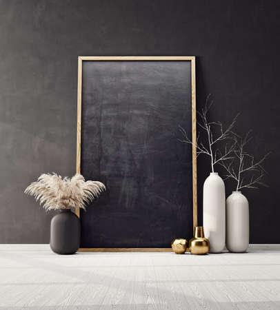 mock up poster frame in modern interior  room. Scandinavian  3d illustration