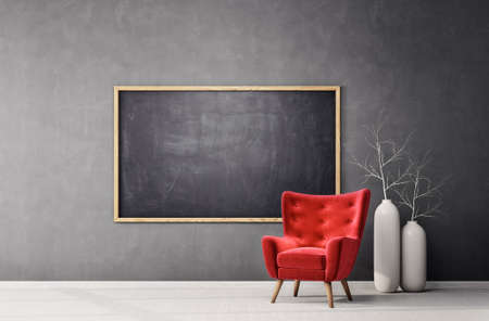 modern interior room with red  armchair and blackboard. Scandinavian  3d illustration