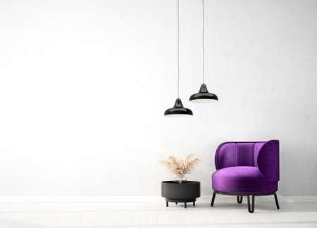 Modern design interior with violet armchair. Scandinavian furniture. 3d illustration 版權商用圖片