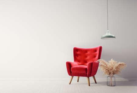 Modern design interior with red armchair. Scandinavian furniture. 3d illustration