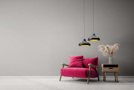 Modern design interior with pink armchair. Scandinavian furniture. 3d illustration