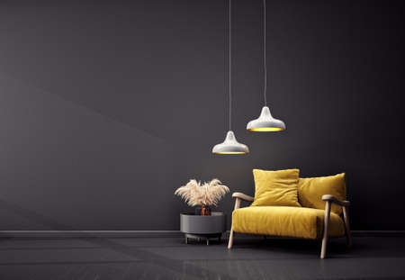 Modern design interior with yellow armchair. Scandinavian furniture. 3d illustration