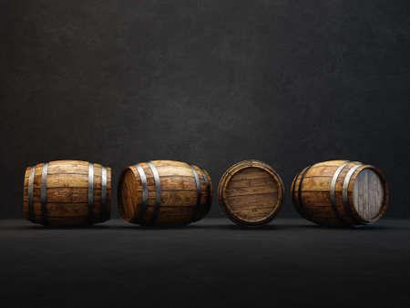 wooden barrels  isolated on a black. 3d illustration