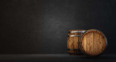 wooden barrel isolated on a black. 3d illustration Standard-Bild