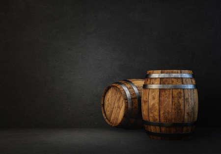 wooden barrels isolated on a black. 3d illustration Standard-Bild