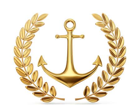 golden anchor with laurel leaf. 3d illustration