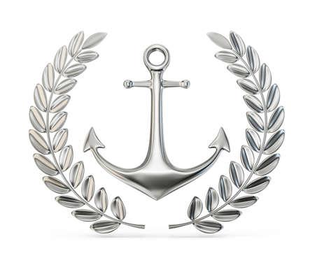 metal anchor with laurel leaf. 3d illustration 版權商用圖片