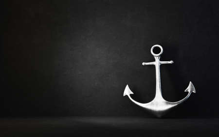 steel anchor isolated on a black. 3d illustration