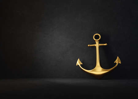golden anchor isolated on a black. 3d illustration