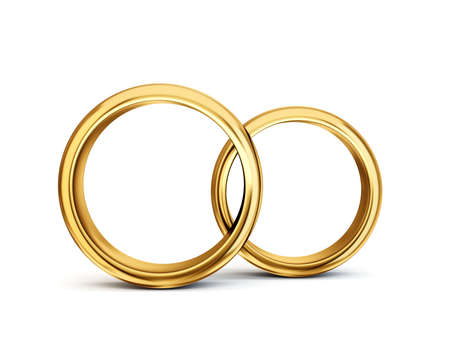 wedding rings isolated on a white. 3d illustration