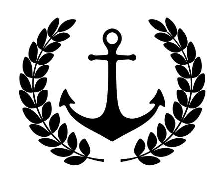black anchor silhouette  isolated on a white background 版權商用圖片