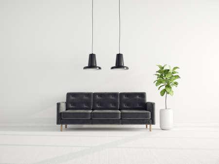 Modern design interior. Scandinavian furniture. 3d illustration, black sofa