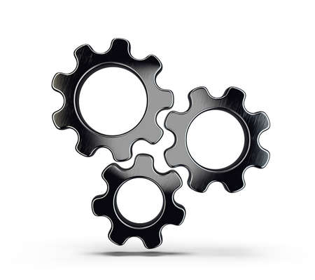 black gears isolated on a white. 3d illustration
