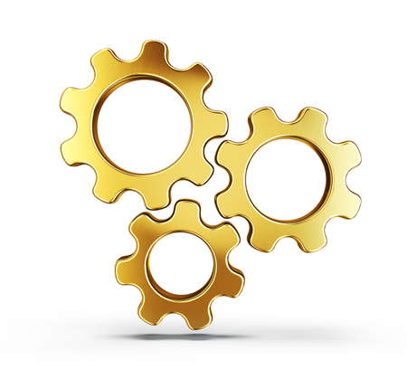golden gears isolated on a white. 3d illustration