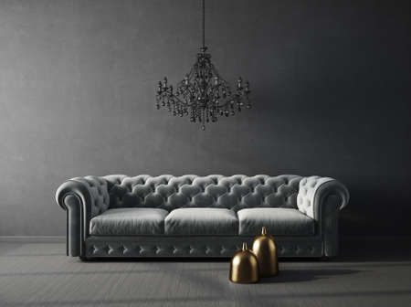Modern design interior with sofa. Scandinavian furniture. 3d illustration Standard-Bild
