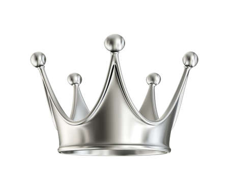 silver crown isolated on a white. 3d illustration