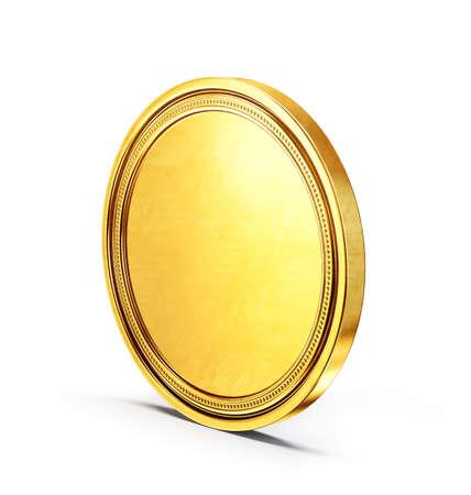 golden coin isolated on a white. 3d illustration Standard-Bild