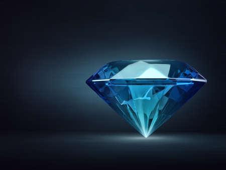 blue diamond isolated on a black. 3d illustration