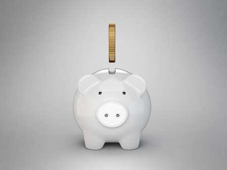 piggy bank  isolated on a grey. 3d illustration Standard-Bild