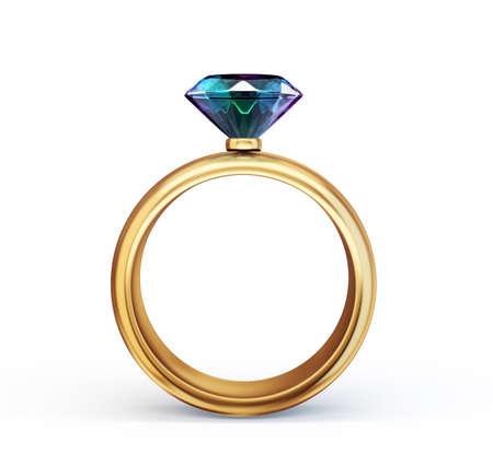 diamond ring on a white.3d illustration Standard-Bild