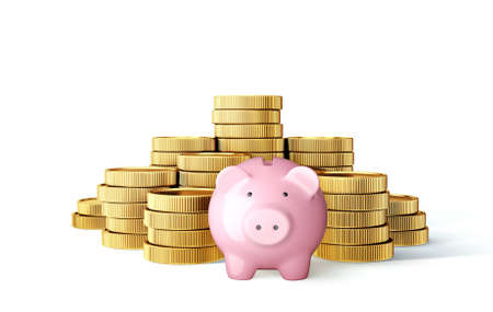 golden coin stacks  isolated on white with piggy bank. 3d illustration