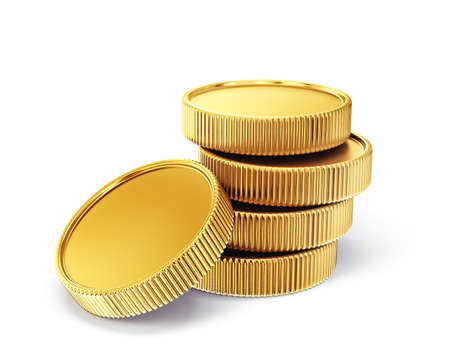 golden coin isolated on a white. 3d illustration 版權商用圖片