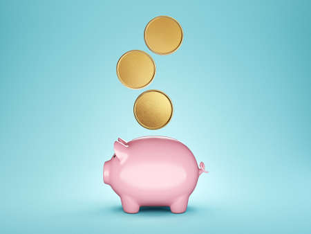 piggy bank isolated on a turquoise. 3d illustration