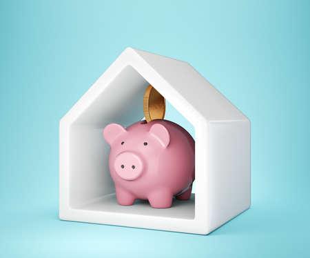 piggy bank in house. 3d illustration