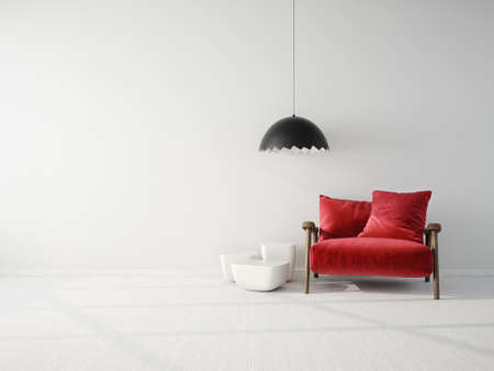 Modern design interior. Scandinavian furniture. 3d illustration