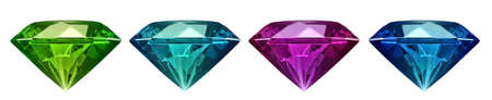 colored diamond isolated on a white. 3d illustration