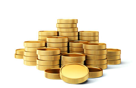 golden coins isolated on a white. 3d illustration 版權商用圖片