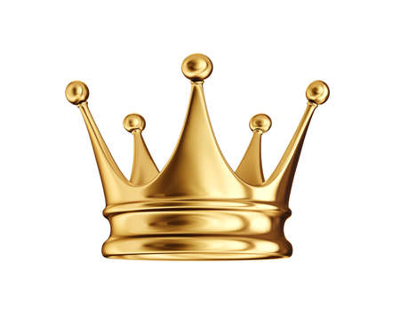 golden crown isolated on a white. 3d illustration 版權商用圖片