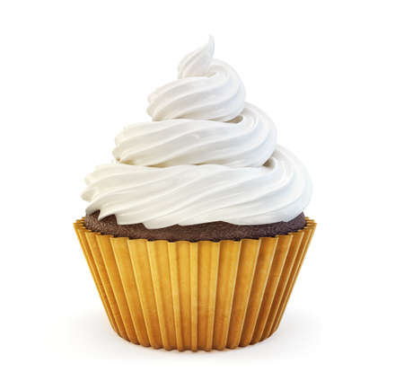 cupcake isolated on a white. 3d illustration Archivio Fotografico