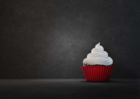 red cupcake isolated on a black. 3d illustration